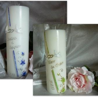 Hochzeitskerze Blüten,Tauben & Ringe
