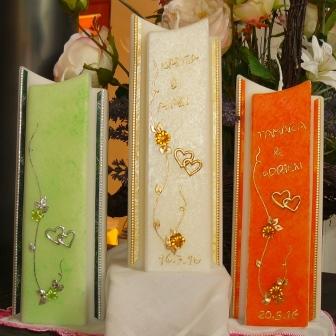 Hochzeitskerze Blütenranke Herzli