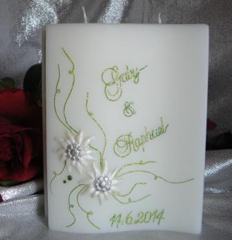 Hochzeitskerze Edelweiss klein