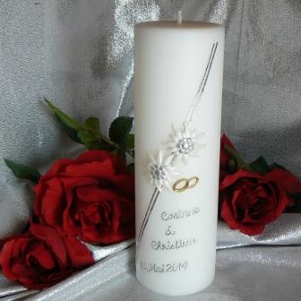 Hochzeitskerze Edelweiss und Ringe