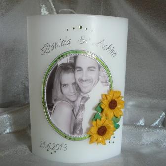 Hochzeitskerze Fotodruck Oval mit Sonnenblumen