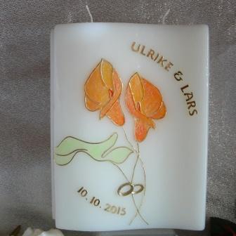 Hochzeitskerze Kalla mit Blatt