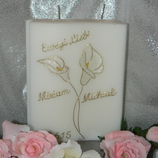 Hochzeitskerze Kalla perlmutt