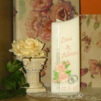 Hochzeitskerzen Wilde Rosen