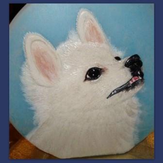 Wachsbild Hund Spitz