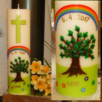 Taufkerze Baum Regenbogen