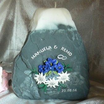 Hochzeitskerze Enziane & Edelweiss auf Fels