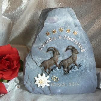 Hochzeitskerze Steinböcke auf Fels