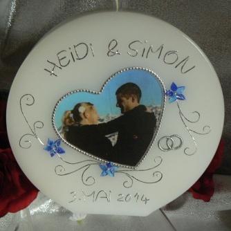 Hochzeitskerze Fotodruck Herz mit Ornamentranken