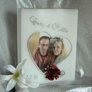 Hochzeitskerze Fotodruck Herz mit Rosen