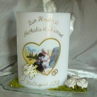 Hochzeitskerze Fotodruck Herz mit Röseli