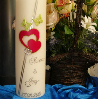 Hochzeitskerze Herzen Schmetterlinge
