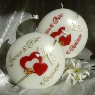 Hochzeitskerze Herzen Tauben Ringe