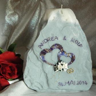 Hochzeitskerze Fels mit Rosen