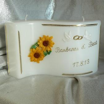 Hochzeitskerze Sonnenblumen & Tauben