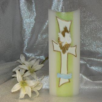 Taufkerze Taube Kreuz mit Sonne